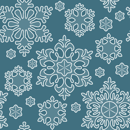 Seamless winter pattern, white lace snowflakes, Christmas and New Year background, holiday decor. Vector illustration