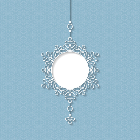 White lace pendant, Decorative design element, lacy holiday decoration for Christmas and New Year. Illustration