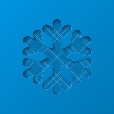 Christmas snowflake cut out of white paper. Decorative design element, holiday decoration for Christmas and New Year cards. Vector illustration