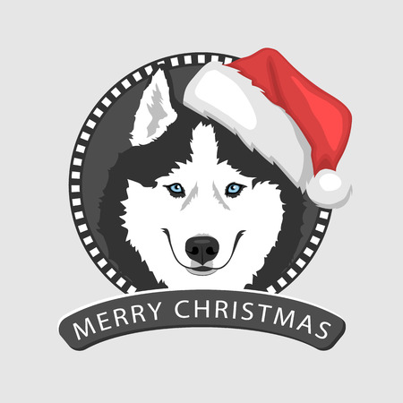 Dog portrait in a red Santas hat. Black and white Siberian husky with blue eyes. Christmas and New Year greeting card. The dog is a symbol of 2018. Vector illustration