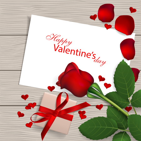 Red rose with gift box on wooden background, valentines day greeting card illustration.