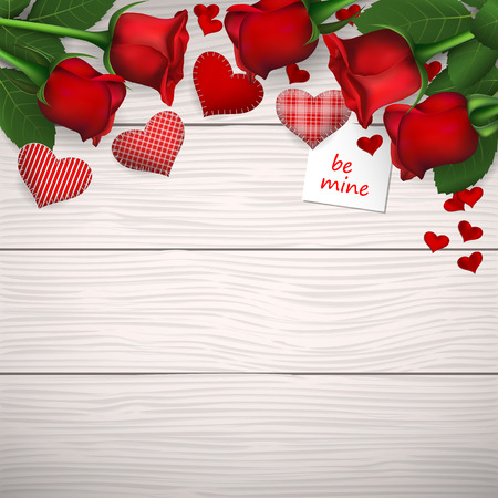 Red roses with red sewed hearts on wooden background. Illustration