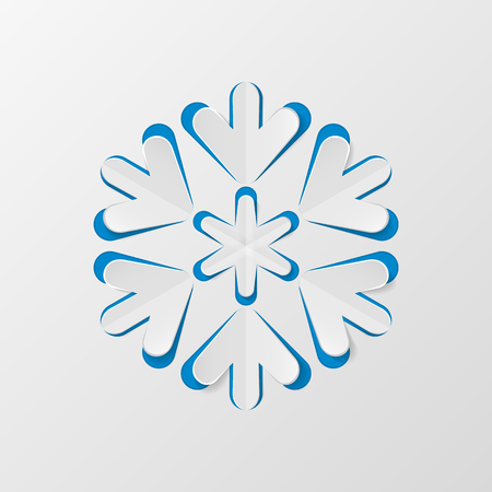 Christmas snowflake cut out of paper. Decorative design element, holiday decoration for Christmas and New Year cards. Vector illustration