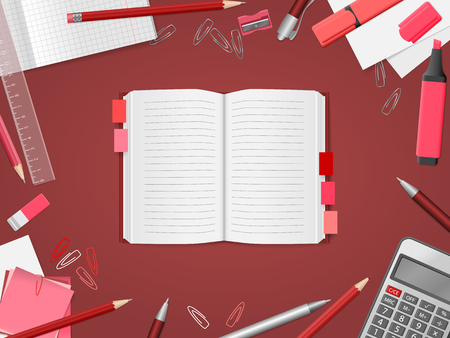 School supplies, open notebook, red pencils, pens, paper, calculator, ruler, eraser with place for text. Back to school. Education and school concept. Vector illustration