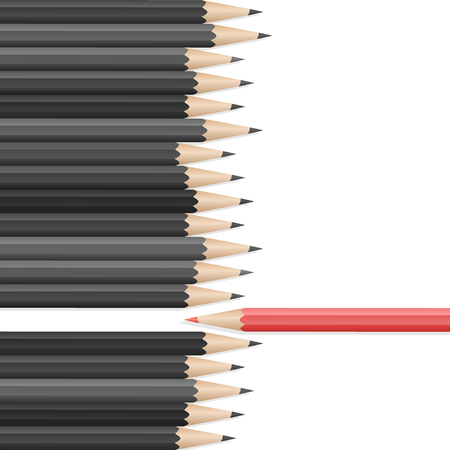 Single red pencil in opposite from many black pencils. Bussiness strategy. Competition, opposition. School supplies concept. Vector illustration