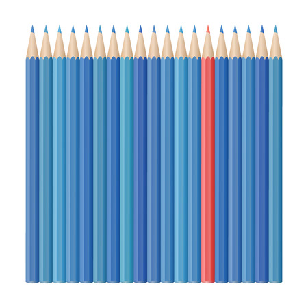 Single red pencil stands out amongst many blue pencils. School supplies concept. Vector illustration