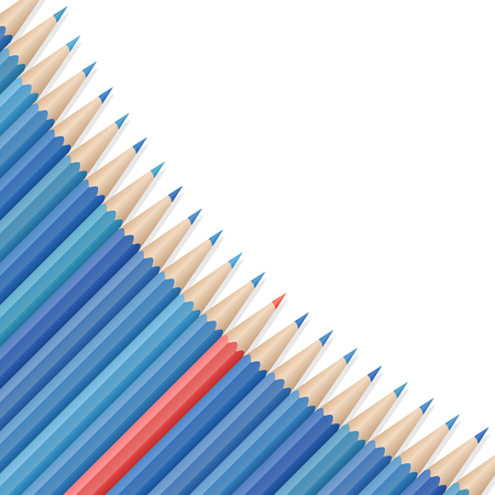 Single red pencil stands out amongst many blue pencils. School supplies concept. Space for text. Vector illustration