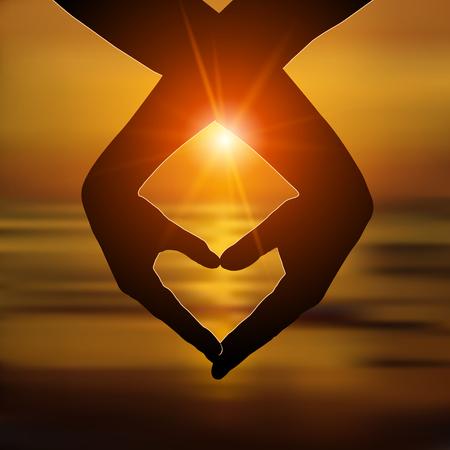 Pareja amorosa hace un corazón con las manos en la playa al atardecer. Amor, concepto de relación romántica. Ilustración vectorial