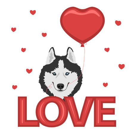 Dog with a heart balloon and love inscription.