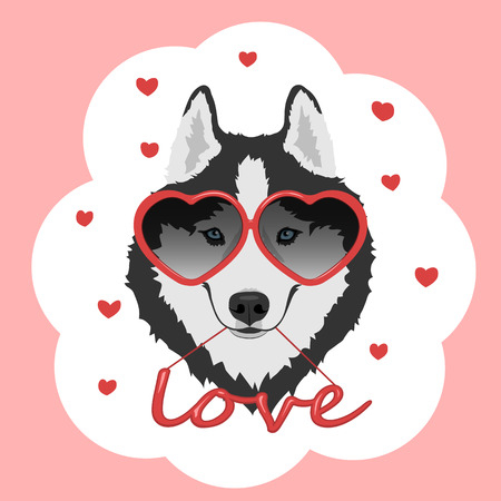 Dog with heart shaped glasses and red word love. Vector Illustration