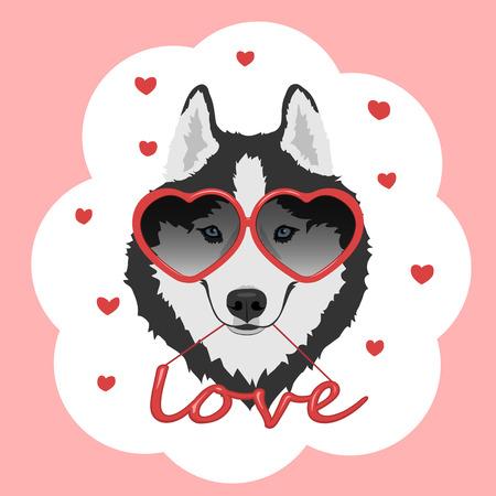 O cão com coração deu forma a vidros e ao amor vermelho da palavra. Ilustración de vector
