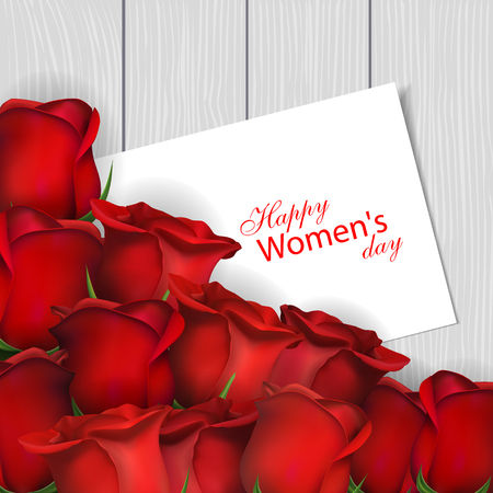 March 8 International Womens Day. Red roses and greeting card on wooden background. Vector illustration Illustration