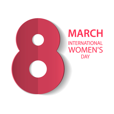 March 8 International Womens Day. Figure 8 cut out of paper. Greeting card template. Vector illustration Ilustrace