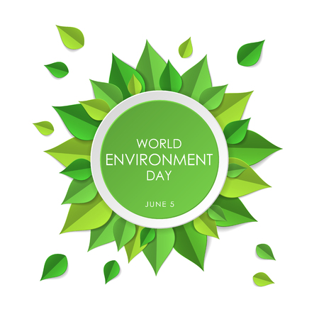 Green earth concept with paper cutout green leaves. World Environment Day, June 5. Ecology, environment, nature protection concept. Template for banner, poster, leaflet. Vector illustration