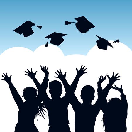 Gelukkige studenten die afstudeerkapjes in de lucht gooien. Silhouetten van afgestudeerden. Vector illustratie