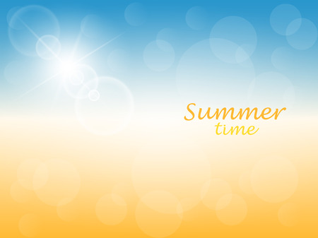 Summer time. Abstract sunny background with blue sky and yellow sand. Vector illustration. Illustration
