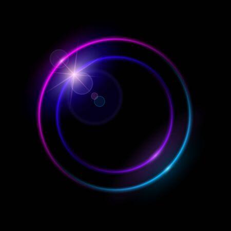 Vibrant neon circle with glow.