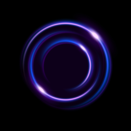 Vibrant neon circle with glow for advertising, banner, card.