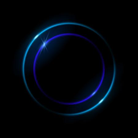 Vibrant neon circle with glow. Ilustración de vector