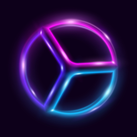 Vibrant neon circle with glow. Colorful shining design element for advertising, banner, card. Abstract luminous background. Vector illustration Ilustracja