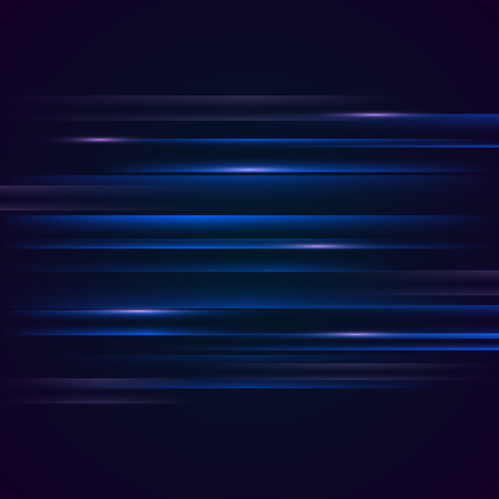 Glowing futuristic lines in the dark. Abstract luminous background with stripes. Vector illustration