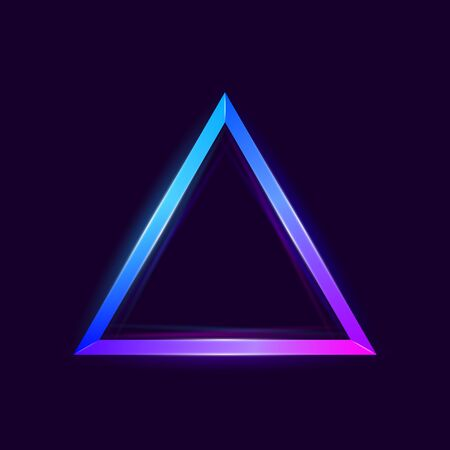 Colorful bright luminous triangles. Shining neon banner with space for text. Design element. Glowing decorative geometric shape. Abstract background. Vector illustration 向量圖像