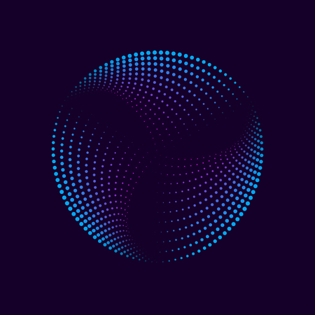 Colorful neon glowing circle. Abstract design element for advertising, banner, card. Round shape made of dots. Vector illustration Illustration