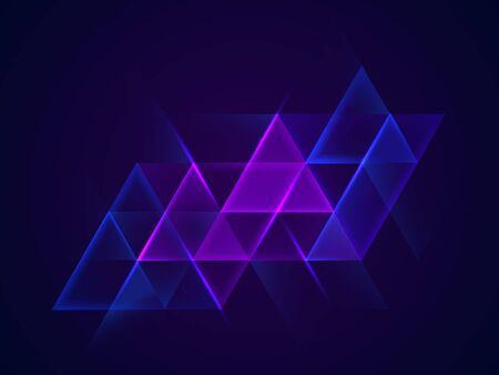Colorful neon glowing triangles. Shining design element for advertising, banner, card. Abstract luminous background. Vector illustration 向量圖像