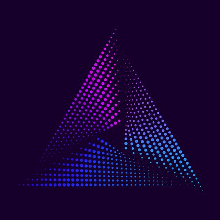 Colorful neon glowing triangle. Abstract design element for advertising, banner, card. Pink blue spectrum vibrant colors. Vector illustration 向量圖像