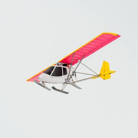 Small private plane in flight. Bright colorful airplane
