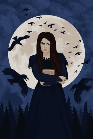 Young witch with a spell book. Night, full moon, flock of black ravens, dark forest. Witchcraft, magic. Vector illustration