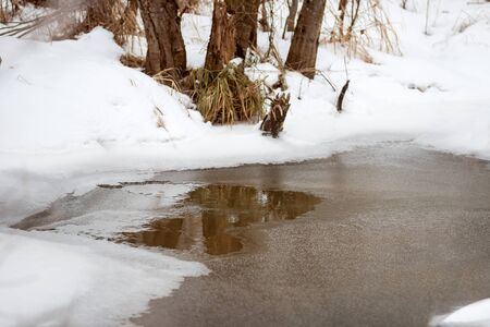 Little pond in a winter park. Non-freezing creek. The shores are covered with snow. Winter landscape