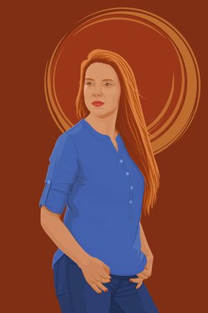 Portrait of a young woman. Beautiful redhead girl in a blue shirt. Vector illustration