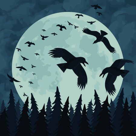 Flock of black ravens flies in the night sky over a dark forest against the full moon.. Vector Illustration