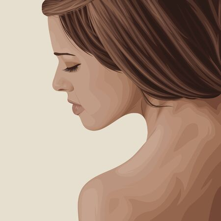 Stylish realistic graphic portrait of a young attractive girl. Vector Illustration