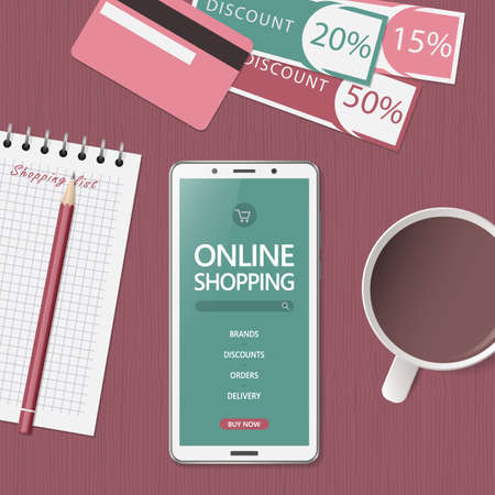 Online shopping concept. Online store website on phone screen. Workspace with smartphone, credit cards and discount coupons. Top view, flat lay. Vector illustration Ilustración de vector