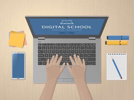Student hands using laptop. Online learning website page on computer screen. Distance e-learning education, digital school, homeschooling. Modern technologies in education. Vector illustration 矢量图像