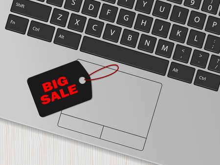 Computer keyboard and black tag with the inscription Big sale. Online shopping concept. Vector illustration 向量圖像