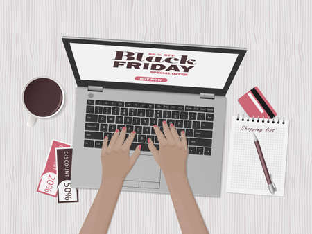 Woman is shopping at online store. Black friday sale. Workspace with laptop, credit card and discount coupons. Top view, flat lay. Vector illustration