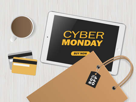Online shopping concept. Cyber monday. Big sale. Workspace with tablet, credit cards and shopping bags. Top view, flat lay. Vector illustration