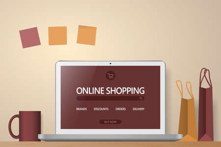 Online shopping concept. Online store website on computer screen.. Workspace with laptop and shopping bags . Vector illustration