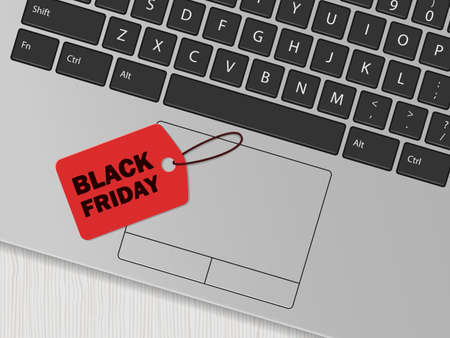 Computer keyboard and red tag with the inscription 'Black friday'. Online shopping concept. Vector illustration 向量圖像