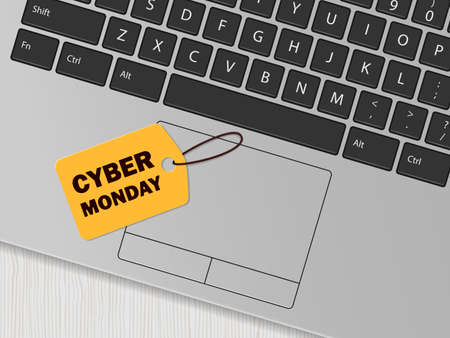 Computer keyboard and yellow tag with the inscription 'Cyber monday'. Online shopping concept. Vector illustration 向量圖像