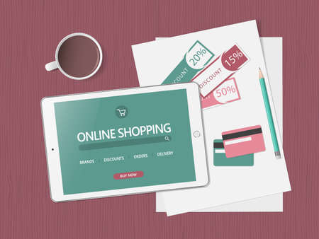 Online shopping concept. Online store website on tablet screen. Workspace with tablet, credit cards and discount coupons. Top view, flat lay. Vector illustration