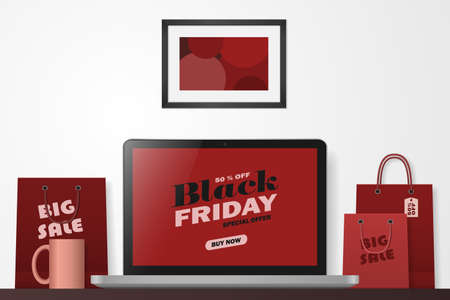 Online shopping concept. Black friday. Big sale. Workspace with laptop and shopping bags. Vector illustration