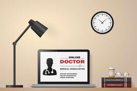 Telemedicine. Online doctor. Service for remote diagnostic. Online medical consultation on laptop screen. Medical and health care concept. Online medicine technology. Vector illustration
