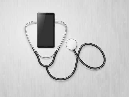 Smartphone and stethoscope. Telemedicine. Medical mobile consultation, online doctor. Online medicine technology. Service for remote diagnostic. Medical and health care concept. Vector illustration 向量圖像