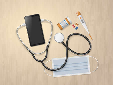 Telemedicine. Medical mobile consultation, online doctor. Smartphone with stethoscope and facial mask. Online medicine technology. Medical and health care concept. Vector illustration