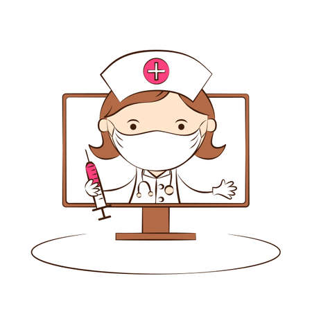Doctor in protective medical mask on computer screen. Telemedicine. Online medical consultation. Service for remote diagnostic. Medical and health care. Cute flat cartoon style. Vector Illustration