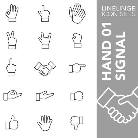 hand signal: Thin Line Icons hand signal Illustration
